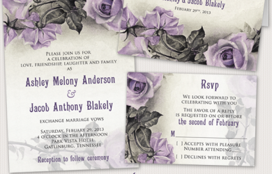 Purple grey sterling silver roses wedding invitation stationery set