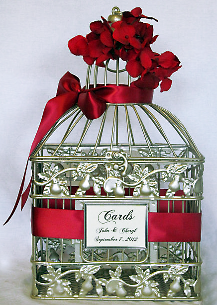 Poppy red ribbon birdcage wedding decor Party Simplicity 2013 Wedding Trends   Colors and Themes