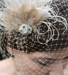 Birdcage and Feathers Bridal Headpiece from Etsy