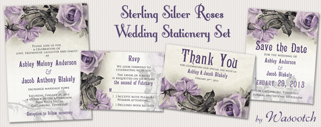 grey ivory purple rose wedding invitation set