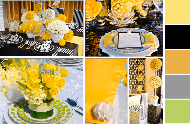 table settings Party Simplicity Lemon Zest and Sunflower Wedding Ideas: Part 1 of 3