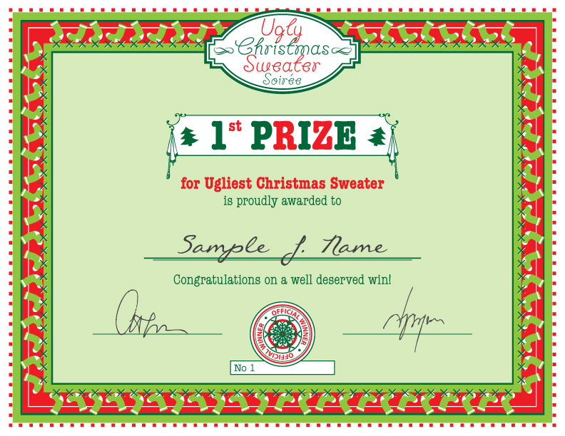 ugly christmas sweater certificate Party Simplicity Free Christmas Printable Ugly Christmas Sweater Party Prize Certificate