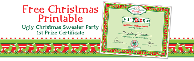party simplicity free christmas printable ugly christmas sweater party certificate