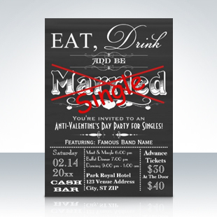 Eat Drink Be Single Chalkboard Singles Party Invitations 310 Party Simplicity Anti Valentines Day Party Ideas
