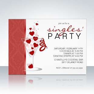 Heart Cocktail Glass Singles Party Invitations 310 Party Simplicity Anti Valentines Day Party Ideas