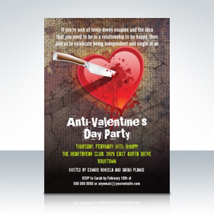 Stabbed Heart Anti Valentines Day Party Invitations 310 Party Simplicity Anti Valentines Day Party Ideas