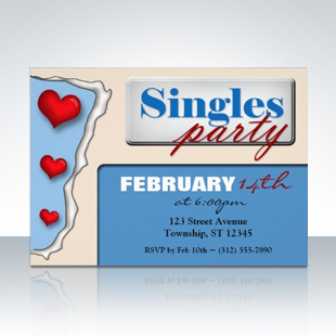 Torn Paper Hearts Blue Singles Party Invitations 310 Party Simplicity Anti Valentines Day Party Ideas