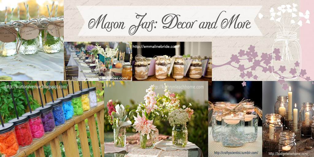 Mason jars HEader Banner Party Simplicity Rustic Bridal Shower Decor DIY Decorations