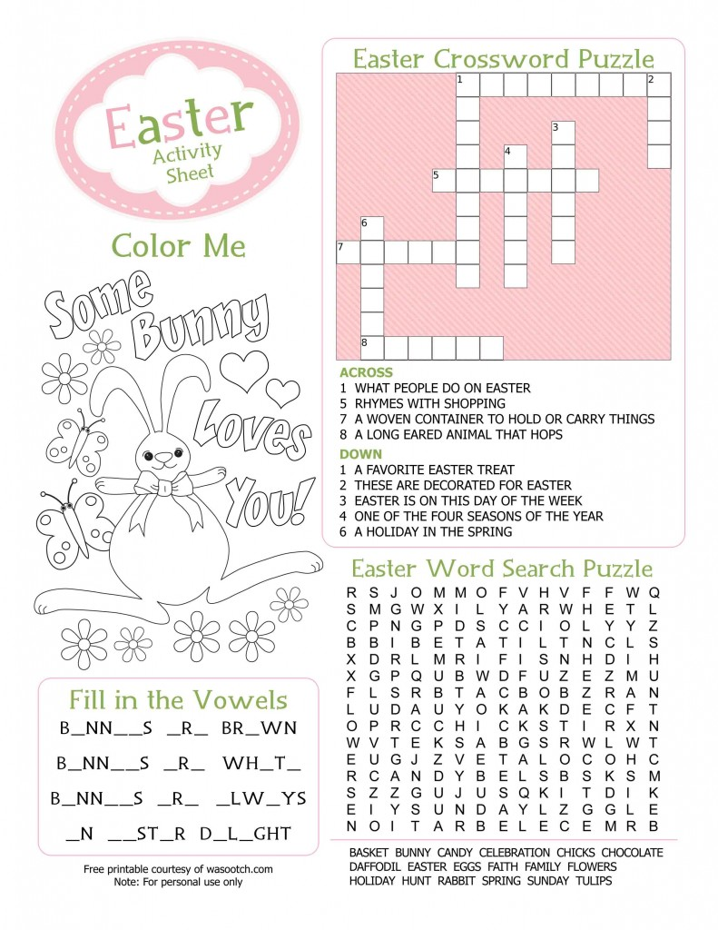 easter kids activity sheet free printable from wasootch 791x1024 Party Simplicity Free Easter Printables Kids Coloring Pages and More