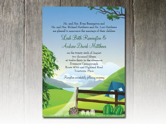 "Camping Wedding Invitations: Party Simplicity Campground ""Glamping"" Wedding Invitation"