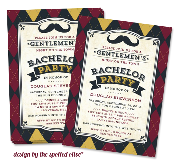 bachelor party mustache invitation design by the spotted olive Party Simplicity Mustache Trend Invitation Design Challenge