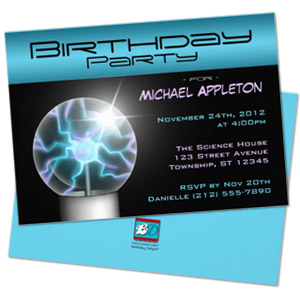 blue plasma ball geek personalized birthday party invitation1 Party Simplicity Tips for Throwing a Geek Themed Birthday Party