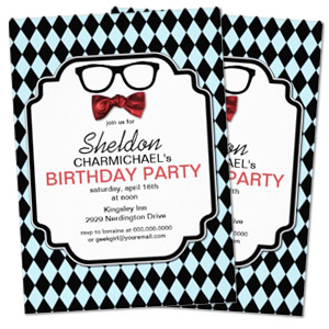 checkered argyle bowtie glasses geek personalized birthday party invitation