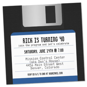 floppy disc geek personalized birthday party invitation Party Simplicity Tips for Throwing a Geek Themed Birthday Party