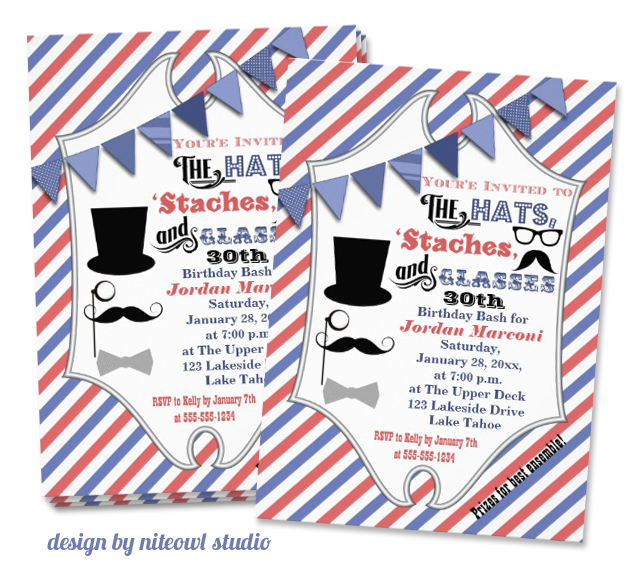 mustache invitation design by niteowl studio Party Simplicity Mustache Trend Invitation Design Challenge