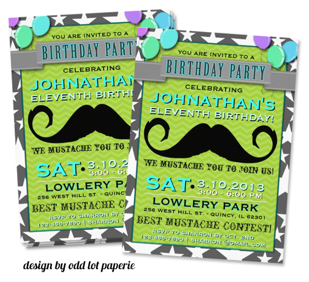 mustache invitation design by odd lot paperie1 Party Simplicity Mustache Trend Invitation Design Challenge
