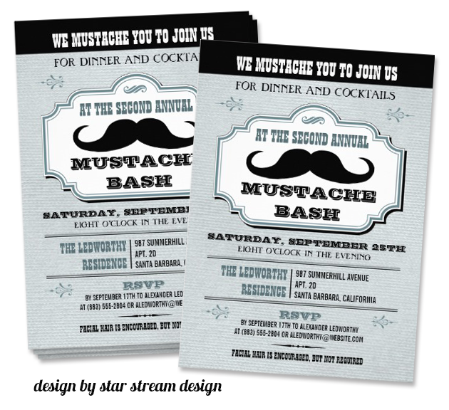 mustache invitation design by star stream design Party Simplicity Mustache Trend Invitation Design Challenge