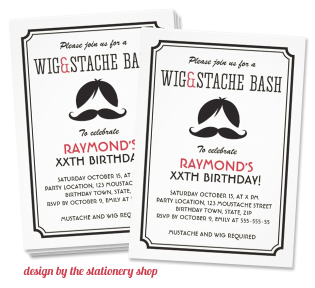 mustache invitation design by the stationery shop Party Simplicity Mustache Trend Invitation Design Challenge