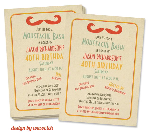 mustache invitation design by wasootch Party Simplicity Mustache Trend Invitation Design Challenge