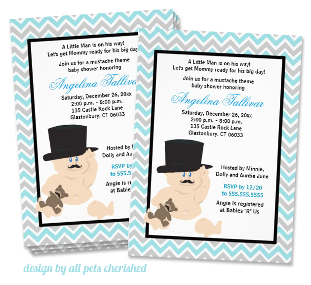 mustache invitation design byall pets cherished Party Simplicity Mustache Trend Invitation Design Challenge