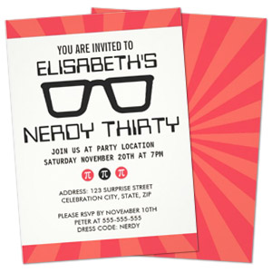 pi glasses girl geek personalized birthday party invitation Party Simplicity Tips for Throwing a Geek Themed Birthday Party