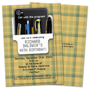 plaid pocket protector geek personalized birthday party invitation Party Simplicity Tips for Throwing a Geek Themed Birthday Party