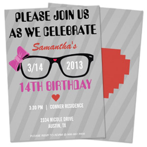 ribbon glasses girl geek theme personalized birthday party invitation