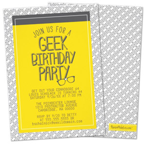 yellow grey glasses geek personalized birthday party invitation Party Simplicity Tips for Throwing a Geek Themed Birthday Party