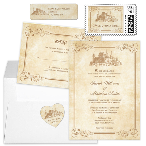 Castle flourish once upon a time fairytale wedding invitation Party Simplicity Fairytale Wedding Invitation Stationery Designs