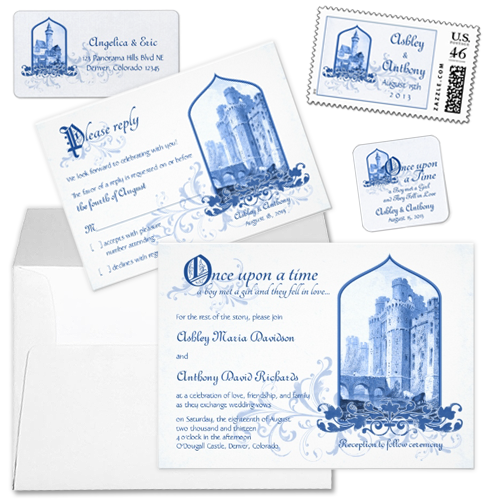 fairytale royal blue castle wedding invitations stationery set Party Simplicity Fairytale Wedding Invitation Stationery Designs