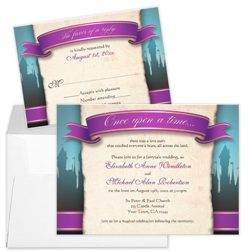 purple banner and castle fairytale wedding invitation and rsvp Party Simplicity Fairytale Wedding Invitation Stationery Designs