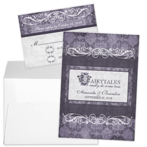 purple flourish fairytale wedding invitation and rsvp Party Simplicity Fairytale Wedding Invitation Stationery Designs