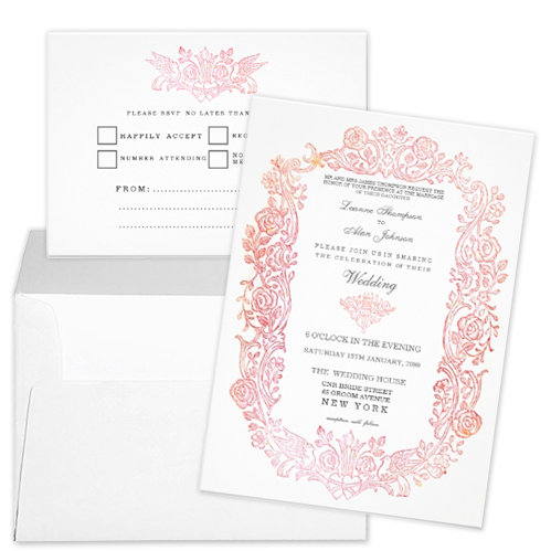 pink orange bird flowers border wedding invitation rsvp Party Simplicity Fairytale Wedding Invitation Stationery Designs