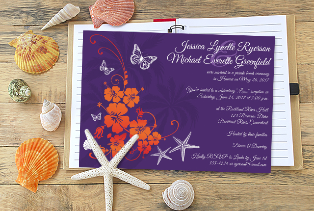 Orange And Green Wedding Invitations: Party Simplicity Destination And Tropical Beach Wedding