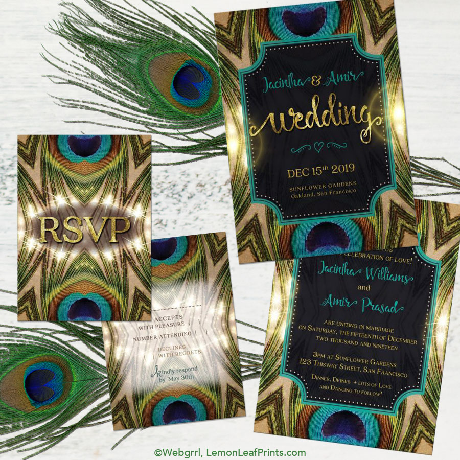 Party Simplicity Peacock Wedding Invitation Sets