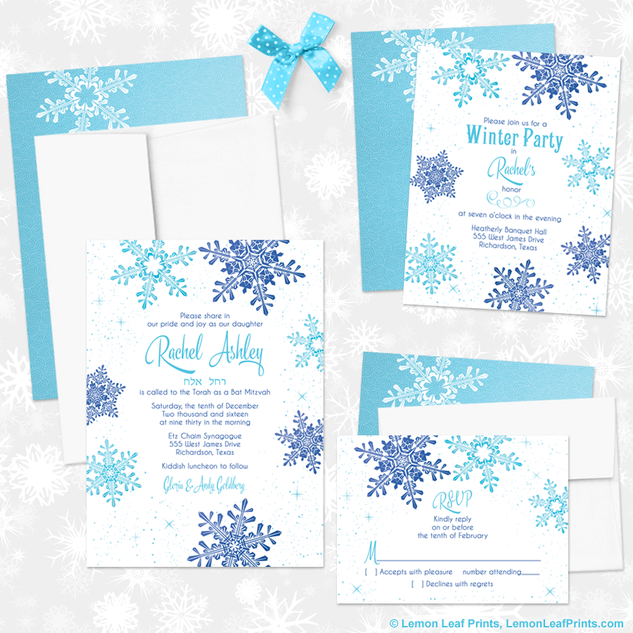 Party Simplicity Winter Wonderland Bat Mitzvah Invitations and Party ...